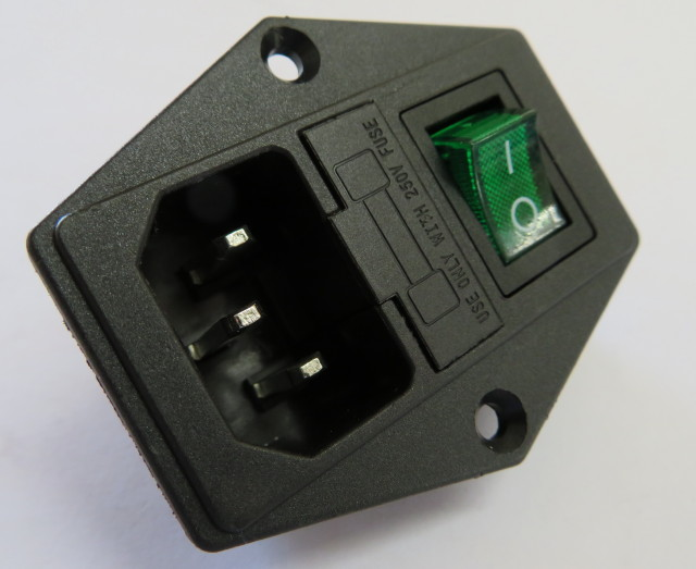 Mains socket, switch, fuse housing